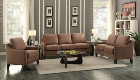 Zapata Collection 52495SET 3 PC Living Room Set with Sofa + Loveseat + Chair in Brown