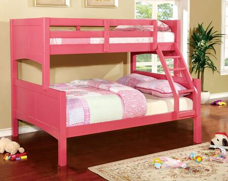 Prismo II Collection CM-BK608F-PK-BED Twin Over Full Size Bunk Bed with Attached Ladder  Guard Rails  Solid Wood and Wood Veneers Construction in Pink