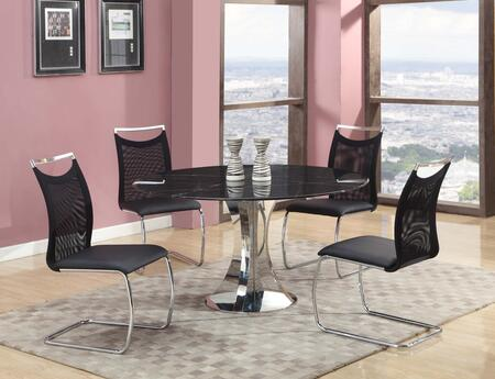 NADINE-5PC-BLK NADINE DINING 5 Piece Set - Natural Marble-Black Marquina Dining Table with 4 Black Meshed Back Cantilever Side
