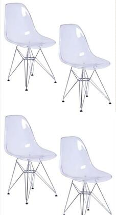 AL10008 Tower Wireleg Clear Chair 18 Inches Seat Width With Transparent