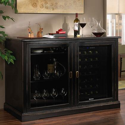 3359305 Siena Mezzo Wine Credenza Nero with Two Wine Coolers  Sliding Glass Doors  and Solid Brass Hardware  in