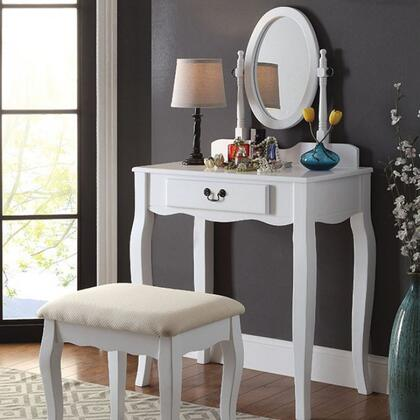Adrianna CM-DK6433WH Vanity with Transitional Style  Storage Drawer  Adjustable Oval Mirror  Solid Wood/Others in
