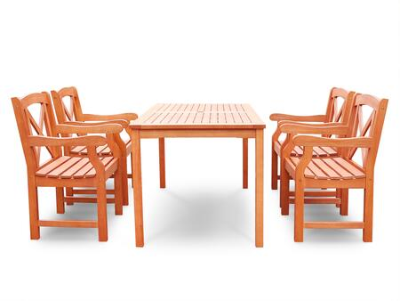 V98SET48 Malibu Eco-friendly 5-piece Outdoor Hardwood Dining Set with Rectangle Table and Arm