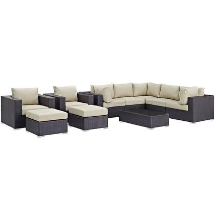 Convene Collection EEI-2169-EXP-BEI-SET 10-Piece Outdoor Patio Sectional Set with Coffee Table  3 Armless Chairs  2 Armchairs  2 Corner Sections and 2 Ottomans
