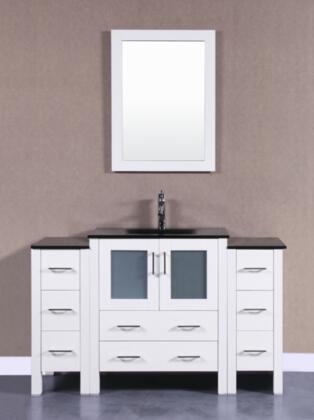 AW130BGU2S 54 Single Vanity With 2 Side Cabinets  Black Tempered Glass Top  Rectangle Integrated Sink And 1 Mirror In  White