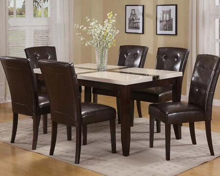 Justin Collection 165506CH 7 PC Dining Room Set with Faux Marble Top Dining Table and 6 PU Leather Upholstered Side Chairs with Tapered Legs in Walnut