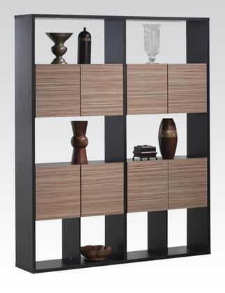 92166 Rina Bookcase with 5 Shelves  4 Doors  2 Compartments  Bottom Storage  Solid Wood and Paper Veneer in Espresso and Rustic Oak