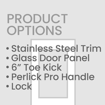 CR-SG-24PDL6L 24 inch  Left Hinge Stainless Steel Glass Door with 6 inch  Toe Kick and Perlick Two Tone Handle