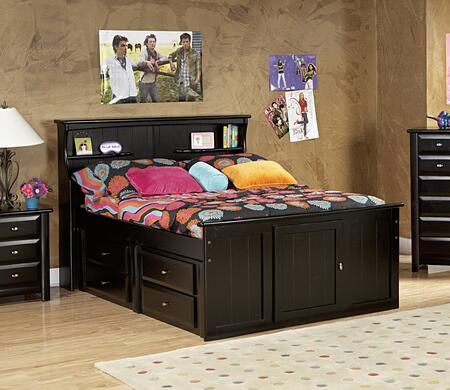 3534505-4509 Full Bed with Bookcase Headboard and Storage in Black