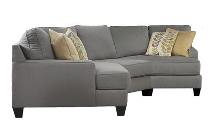 Chamberly 24302-76-46-75 3-piece Fabric Sectional Sofa With Left Arm Cuddler  Armless Chair  Right Arm Cuddler And Pillows Included In Alloy