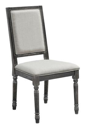 Muses P836-65 Upholstered Back Chairs (Set of 2) with Tapered Legs  Piped Stitching and Fabric Upholstery in Weathered