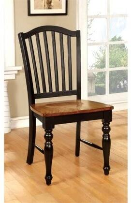 Mayville Collection CM3431SC-2PK Set of 2 Country Style Side Chair with Slat back and Turned Leg Design in Black/Antique