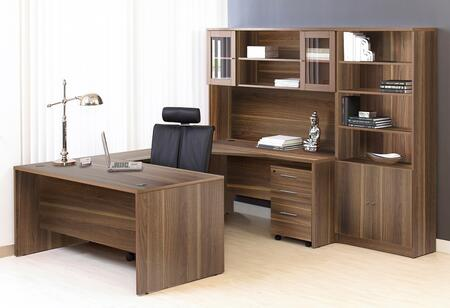 1C100010LWL Walnut Executive U Shaped Desk with Hutch and