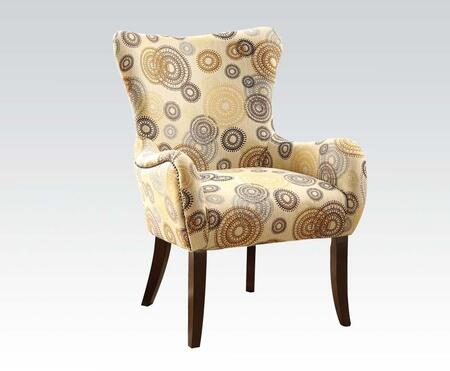 Gabir Collection 59077 21 inch  Accent Chair with Tapered Legs  Flared Arms  Nail Head Trim  Wingback and Fabric Upholstery in Espresso