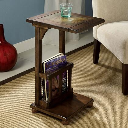 Wilcox CM-AC093 Slate-Insert Side Table with Distressed Antique Style  Slate Insert Top  Built-In Magazine Rack  Solid Wood and Others in Antique