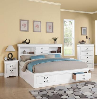 Louis Philippe III Collection 24490Q3SET 3 PC Bedroom Set with Queen Size Bed  Chest and Nightstand in White