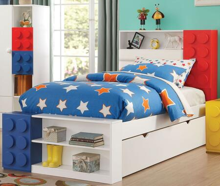 Playground Collection 30740TT 2 PC Bedroom Set with Twin Size Storage Bed + Trundle in White and Multi