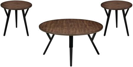 Scaevola Collection 80665 3 PC Coffee and End Table Set with Round Shaped Wood Top  Industrial Style  Metal Tapered Legs and Wood Veneer Material in Oak and