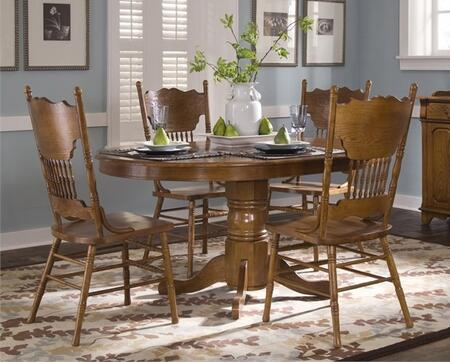 Nostalgia Collection 10-CD-O5ROS 5-Piece Dining Room Set with Oval Dining Table and Double Press Back Side Chair in Medium Oak