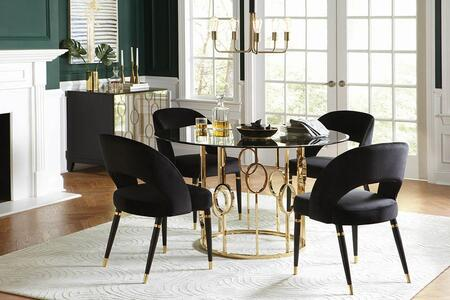 Lindsey Collection 192071-S6 6-Piece Dining Room Set with Round Dining Table  4 Side Chairs and Server in Sunny