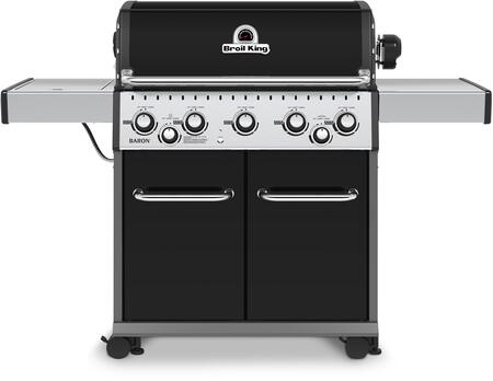 923187 Baron 590 Natural Gas Grill with 5 Burners  50000 BTU Main Burner Output  10000 BTU Side Burner  15000 Rotisserie Burner  555 sq. in. Cooking Area  in