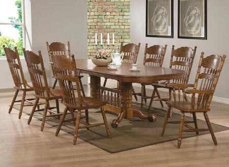Brooks 104271SET 9 PC Dining Room Set with Table + 6 Side Chairs + 2 Arm Chairs in Oak