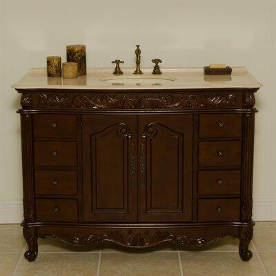 1080C 48 inch  Wakefield Bathroom Vanity With Bisque Porcelain Sink  Cream Marble Top  Mahogany Cabinet  Doors with 1 Shelf & 8 Drawers with Metal Roller Ball