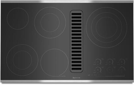 JED4536WS 36 inch  Electric Radiant Downdraft Cooktop with Electronic Touch Control  5 Radiant Elements  7 Inch Keep Warm Function  and Hot Surface Indicator Light