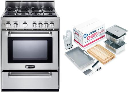 2-Piece Stainless Steel Kitchen Package with VEFSGG244NSS 24 inch  Freestanding Gas Range and Chefs