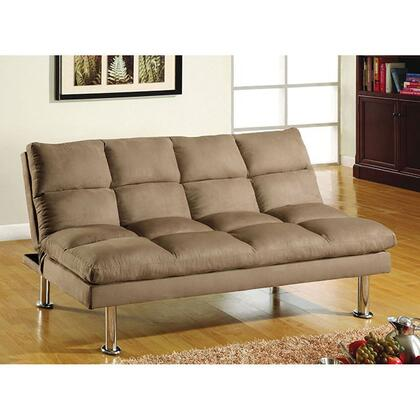 "Saratoga Collection CM2902-CA 67"" Futon Sofa with Microfiber Seat  Chrome Legs and Extra Support Legs in Light"