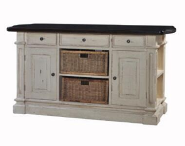 23339 Roosevelt Kitchen Island With 2 Baskets  3 Drawers  2 Doors  Side Shelves And Teak Brown Top In Antique Cream