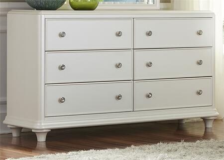 Stardust Collection 710-BR30 58 inch  Dresser with Bun Feet  6 Drawers and Crystal Knob Hardware in Iridescent White