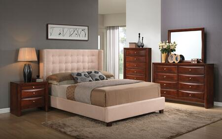 Mallalai 20757EK5PC Bedroom Set with Eastern King Size Bed + Dresser + Mirror + Chest + Nightstand in Espresso