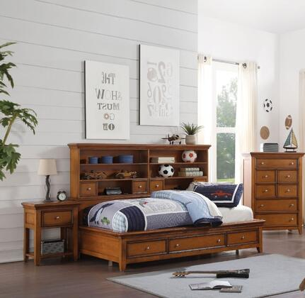 Lacey Collection 30555F3SET 3 PC Bedroom set wtih Full Size Daybed  Chest and Nightstand in Cherry Oak