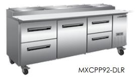 MXCPP92-DLR  Undercounter Refrigerator and Pizza Preparation WorkTop with 32 cu. ft. Capacity  4 Casters  Self Contained  Automatic Defrost  Forced Air