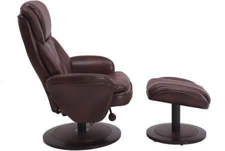 Comfort Chair Collection NORWAY-809-620-200 18 inch  Norway Recliner and Ottoman with Black Alpine Wood Frame  360 Degree Swivel  Adjustable Recline  Lumbar Support