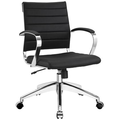 Jive Collection EEI-273-BLK Office Chair with 5-Caster Dual Wheel Base  Padded Arms  Chrome-Plated Aluminum Frame  Tilt Lock Tension Control  Adjustable Height