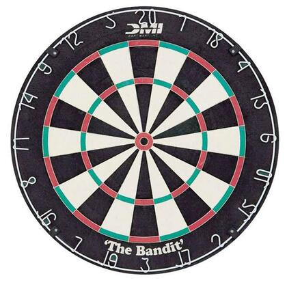 60002 The Bandit Staple-Free Bristle Dartboard with Rigid Mounting and Support Structure  and Powder Coated Moveable Numbers