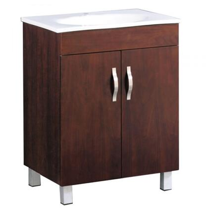 YVEC-125BR-VT 24 inch  Single Vanity with White Ceramic Top  Single Faucet Hole  White Ceramic Basin and 2 Door Cabinet in Brown Cabinet