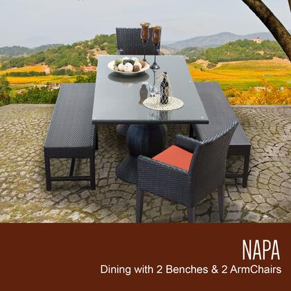 NAPA-RECTANGLE-KIT-2DC2DB-C-TANGERINE Napa Rectangular Outdoor Patio Dining Table with 2 Chairs w/ Arms and 2 Benches with 2 Covers: Wheat and