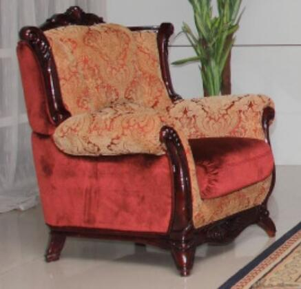 2200BURGUNDYC Traditional Style Chair with Hand Carved High Gloss Mahogany Wood Frame  Exquisite Details and Finest Patterned Fabric Upholstery in