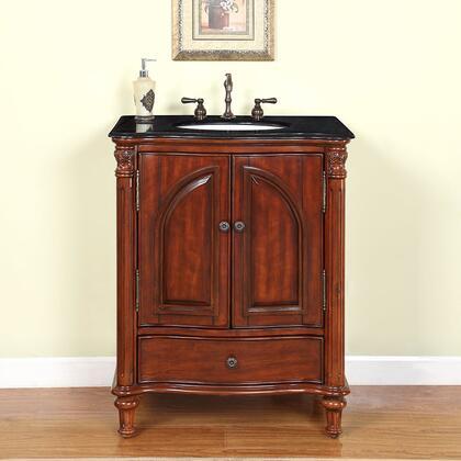 FS-0266-BG-UWC-30 Leila 30 inch  Single Bathroom Vanity Set with 1 Drawer  2 Doors  1 White Porcelain Undermount Sink and Black Galaxy Granite Stone Countertop in