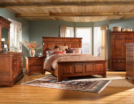 KALRM5030Q5P Kalispell 5-Piece Bedroom Set with Queen Sized Mantel Bed  Chest  Dresser  Mirror and Single