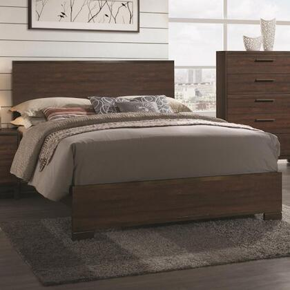 Edmonton Collection 204351KW California King Size Panel Bed with Asian Hardwood  3D Paper Vinyl and Rustic Wood Look in Rustic Tobacco