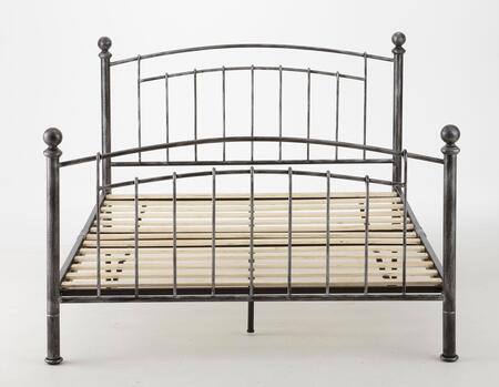 London Collection MFP02453DB Double Size Platform Bed with Antique Metal Finish and Modern Style in Rubbed
