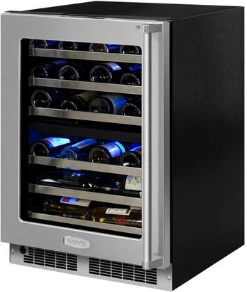 Marvel MP24WD5L 24 Wide 40-Bottle Built-In Dual Zone Wine Cooler with LED Light, Stainless Frame Glass Door