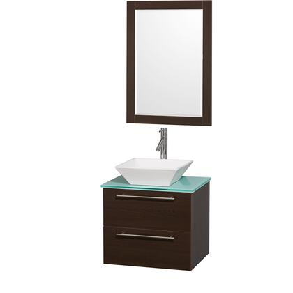 WCR410024ESGRD28WH 24 in. Single Bathroom Vanity in Espresso with Green Glass Top with White Porcelain Sink  and 24 in.