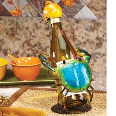 DFA1871 Wine Bottle Holder - Blue Crab in Blue