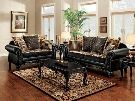 Theodora Collection SM7505-SL 2-Piece Living Room Set with Stationary Sofa and Loveseat in Black and