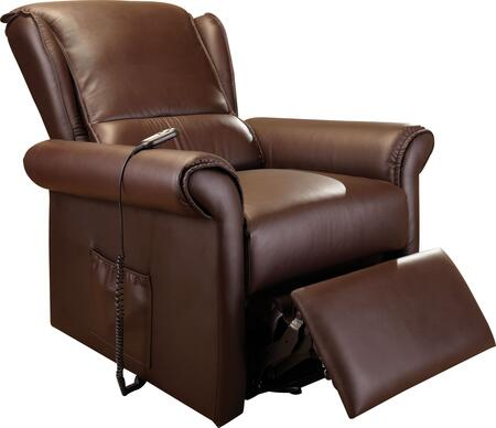 Emari Collection 59169 34 inch  Electric Lift Recliner with Massage Function  Side Pocket  Power Controller  Rolled Arms and PU Leather Upholstery in Dark Brown